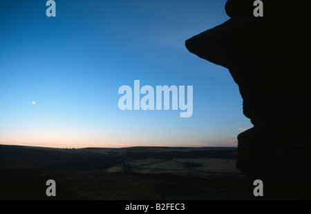 Face in the gritstone rocks in the Peak District National Park Derbyshire - Stock Image