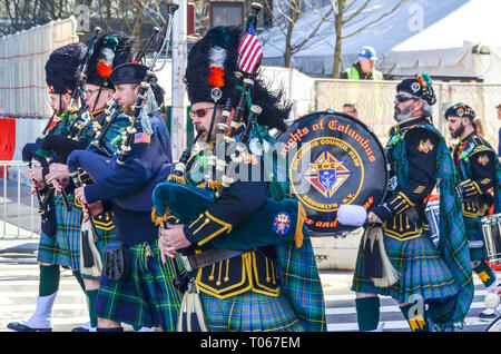 New York City, USA. 16th Mar, 2019. St. Patrick's day is celebrated with a parade along 5th Avenue. Credit: jbdodane/Alamy Live News - Stock Image