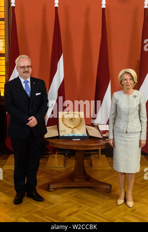 RIGA, LATVIA. 8th of July 2019. Egils Levits, Newly elected President of Latvia and Inara Murniece (R), Speaker of Parliament of Latvia,  participation in the awarding ceremony of the highest state awards. Parliament of Latvia, Riga. Credit: Gints Ivuskans/Alamy Live News - Stock Image