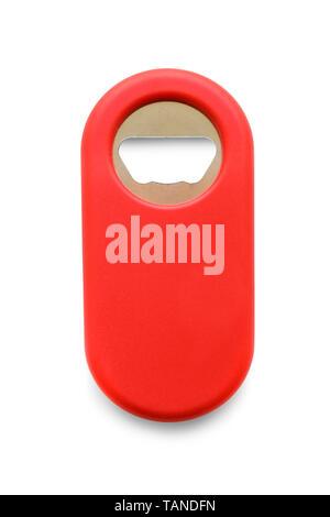 Plastic bottle opener isolated on white - Stock Image