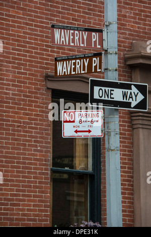 Street Signs at the corner of Waverly Place and Waverly Place in Greenwich Village, New York City, USA - Stock Image