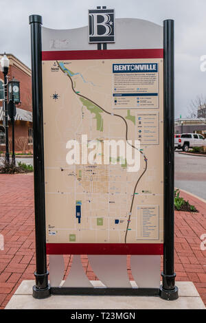 downtown bentonville map - Stock Image