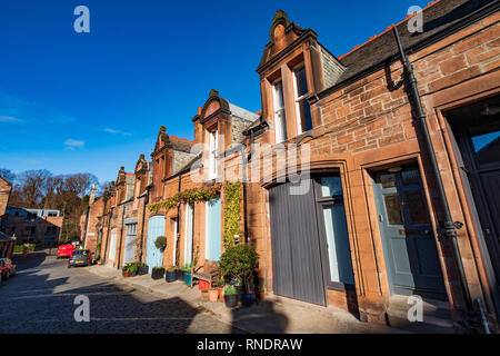 View of Mews houses on narrow street at Bedford Mews before Mews in Edinburgh, Scotland, UK - Stock Image