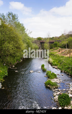 River Irwell at Burrs Country Park, Bury, Greater Manchester looking towards the railway bridge carrying the East Lancashire Railway. - Stock Image