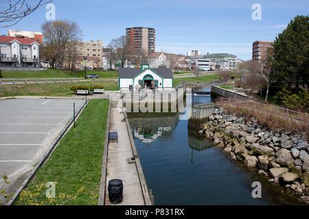 May 12, 2018 - Dartmouth, Nova Scotia: Canal Street view over Shubenacadie Canal and Portland Street - Stock Image