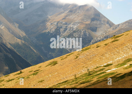 golden Slope of Monte Sibilla in the Sibillini National Park Le Marche Italy - Stock Image