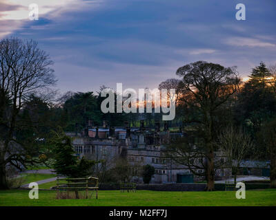 Peak District National Park, Derbyshire. 7th Feb, 2018. UK Weather: Wonderful sunset over Tissington Hall in Tissington - Stock Image