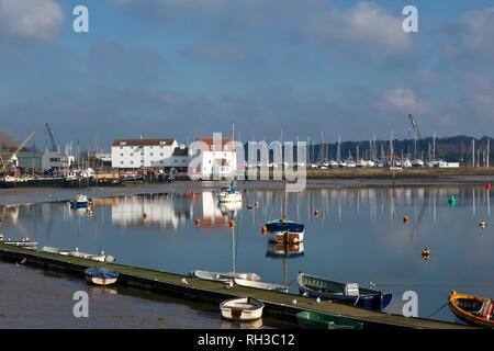 The Tide Mill and the River Deben at low tide. Woodbridge, Suffolk, January 2019. - Stock Image