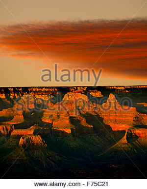 Grand Canyon National Park as Viewed from the South Rim at Sunset, from the Bright Angel Lodge, Northern Arizona - Stock Image