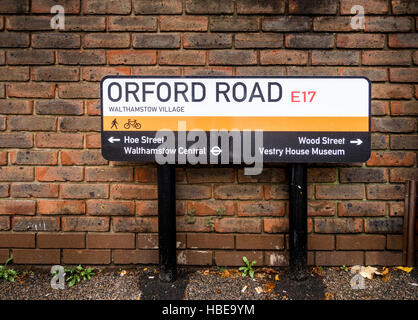 Orford Road street sign, an example of wayfinding street signage to assist direction finding in Walthamstow Village, - Stock Image