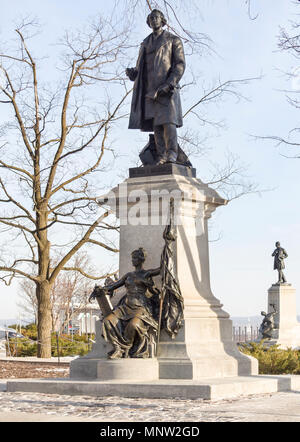 Statue of Sir John A. Macdonald on Parliament Hill by Louis-Philippe Hébert: Canada's first prime minister stands on a plinth with a bronze Britannia below. In the background a statue of George Brown, also a father of confederation. - Stock Image