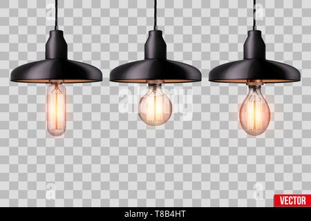 Set of edison light bulb with metal shade - Stock Image