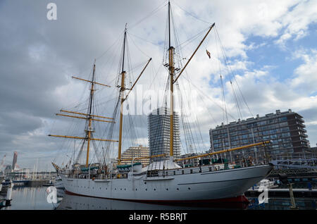 The museum ship, barquentine Mercator in the harbour at Ostend in Belgium - Stock Image
