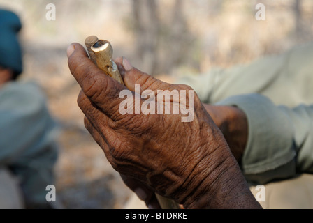 Hands of an elderly bushman holding Fire sticks - Stock Image