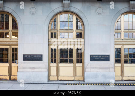 OTTAWA, CANADA - NOVEMBER 10, 2018: Entrance to the Wellington Building, the administrative building of the House of Commons, the lower chamber of the - Stock Image
