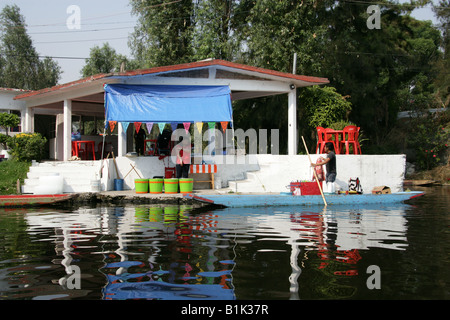 House on the Canals of the Floating Gardens of Xochimilco, Mexico City - Stock Image