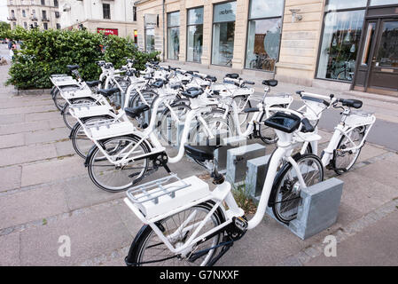Electric 'Go-Bikes' in Copenhagen, Denmark, which can be hired by the hour (approx €2).  Includes touchscreens - Stock Image