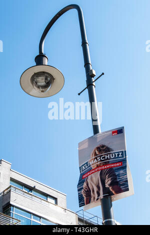 Berlin. Election poster, European Elections 23-26 May 2019, SDP poster says Europe is the Answer & supports climate protection - Stock Image