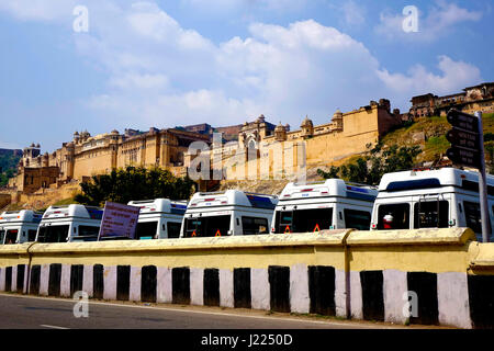 Amer Fort exterior, Jaipur, Rajasthan, India.  Amber, or Amer, derives its name from the Ambikeshwar Temple,or Amba, - Stock Image