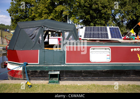 Solar panels on the roof of a Narrowboat moored on the Trent and Mersey Canal during the 2011 Inland Waterways Festival - Stock Image