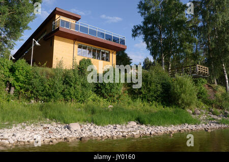 Lake Museum and Limnological Station open to the lake. Lake Võrtsjärv, Estonia 16th august 2017 - Stock Image