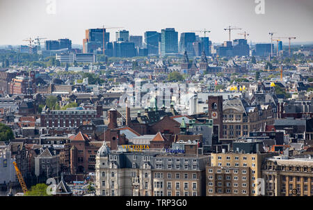 Amsterdam, Netherlands, view over the old town, with Rijksmuseum, Mitte and the skyscraper skyline of the Amsterdam Zuid district, - Stock Image