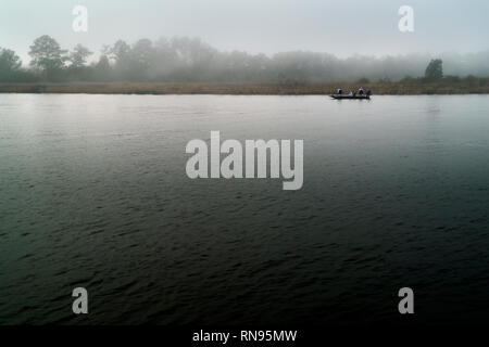 A foggy afternoon in February at the Weeks Bay National Estaurine Research Reserve. - Stock Image
