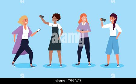 set women with smartphone technology and hairstyle vector illustration - Stock Image