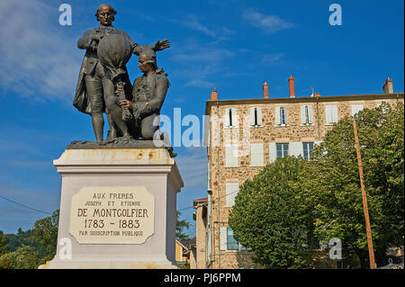 Statue of the Mongolfier brothers, the first to undertake balloon flight, in the centre of Annonay, Ardeche region, France - Stock Image