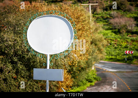 White blank empty signboard on the side of the highway in a rural area - Stock Image