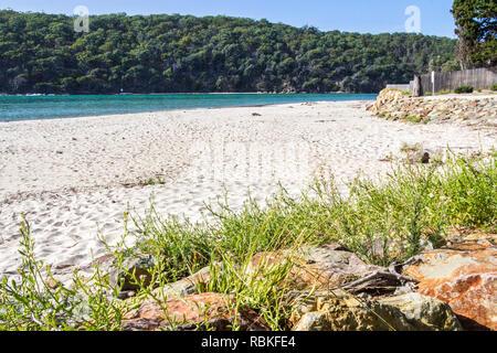 Beach by Pambula river estuary, New South Wales, Australia - Stock Image