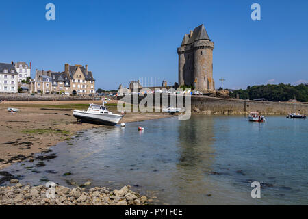 Low tide of the Tour de Solidor on the Solidor waterfront in the port of Saint Malo on the north coast of Brittany in France - Stock Image