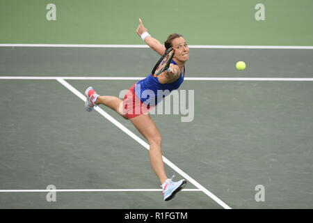 Prague, Czech Republic. 10th Nov, 2018. Czech tennis player Barbora Strycova in action against US tennis player Sofia Kenin (not seen) during the 2018 Fed Cup final match between Czech Republic and USA, rubber 1, singles, at the O2 arena in Prague, Czech Republic, on November 10, 2018. Credit: Michal Kamaryt/CTK Photo/Alamy Live News - Stock Image