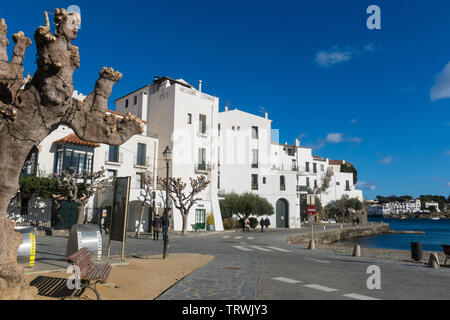 CADAQUES, SPAIN - DECEMBER 8, 2017: Typical white Mediterranean promenade, in the village of Cadaques, on the Costa Brava of Spain. Girona region, Cat - Stock Image
