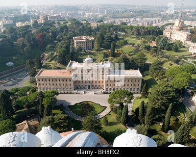 View over gardens from dome of St Peter Vatican City Rome Lazio Italy - Stock Image