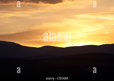 Sunset over Ben Wyvis - Stock Image