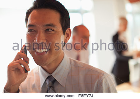 Businessman talking on cell phone - Stock Image