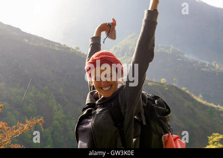 Portrait Young Pretty Girl Sunrise Rain Mountains.Africa Nature Morning Volcano Viewpoint.Mountain Trekking,View - Stock Image