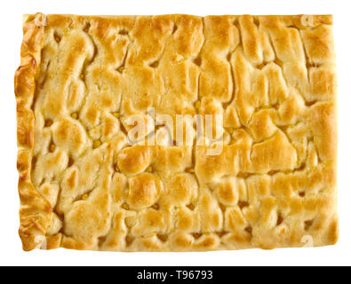 Classic focaccia bread to serve as an accompaniment to Italian cuisine in a rectangular portion viewed close up top down isolated on white - Stock Image