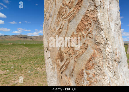Uushigiin Uver Deer Stones, Mörön, Mongolia - a Bronze Age site with 14 upright carved deer stones. - Stock Image