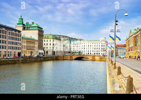14 September 2018: Gothenburg, Sweden - The Stora Hamn Canal in the central city, looking towards the Kampebron pr Fighter Bridge. - Stock Image