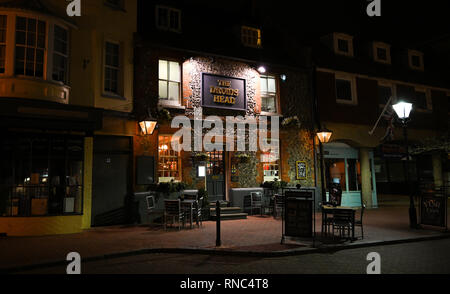 Brighton Views at night - The Druids Head pub in The Lanes area  Photograph taken by Simon Dack - Stock Image