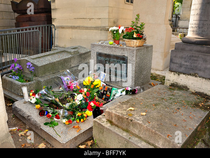 Paris, France - 'Pere Lachaise Cemetery', Monument to 'Jim Morrison', 'Rock Singer' to the - Stock Image
