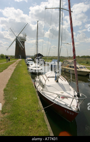 Horsey windmill and Staithe Norfolk Broads England UK - Stock Image