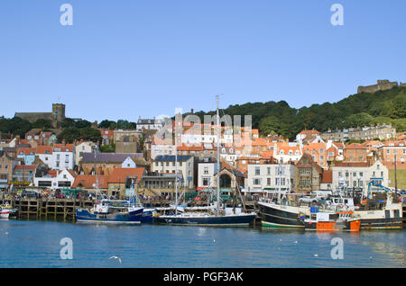 Fishing Boats in Scarborough Harbour - Stock Image