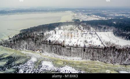 Kaunas, Lithuania: Pazaislis Monastery and Church in winter - Stock Image