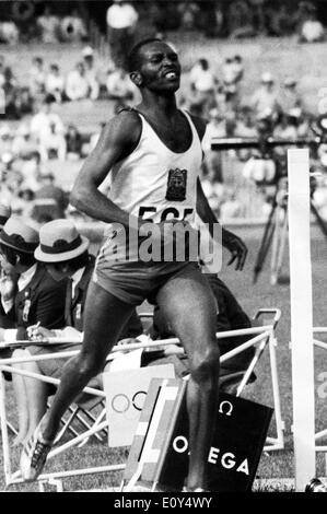 Oct 23, 1968; Mexico City, MEXICO; KIPCHOGE KEINO, of Kenya, is seen winning the 1500 meters final to gain his gold medal in the olympic record time of 3 mins 34.9 secs.. - Stock Image