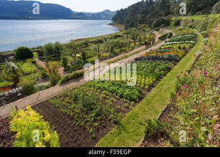 The walled garden and Loch Ewe Inverewe Gardens Poolewe West Ross Scotland - Stock Image