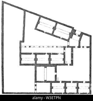 Floor plan of the restored group of houses in Moudleja, ,  (cultural history book, 1875) - Stock Image