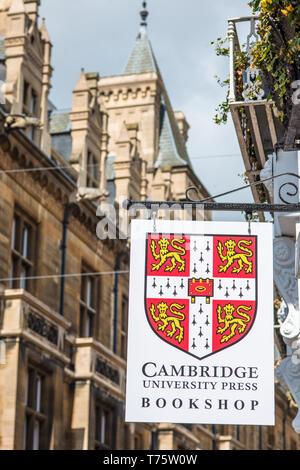 Cambridge University Press bookshop signpost off Market Square in Cambridge city centre, Cambridgeshire, England, UK. - Stock Image